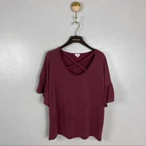 Caution to the Wind Burgundy Ruffle Sleeve Blouse
